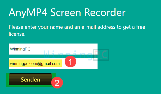 Giveaway Anymp4 Screen Recorder Free License Step 1