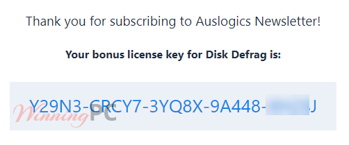 Auslogics Disk Defrag Pro License Key