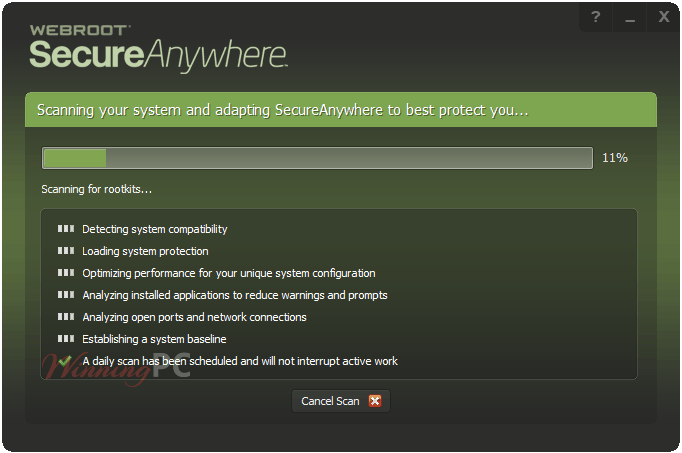 Webroot Secureanywhere Antivirus First Scanning