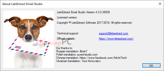 Letsextract Email Studio License Info
