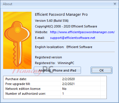 Efficient Password Manager License Info