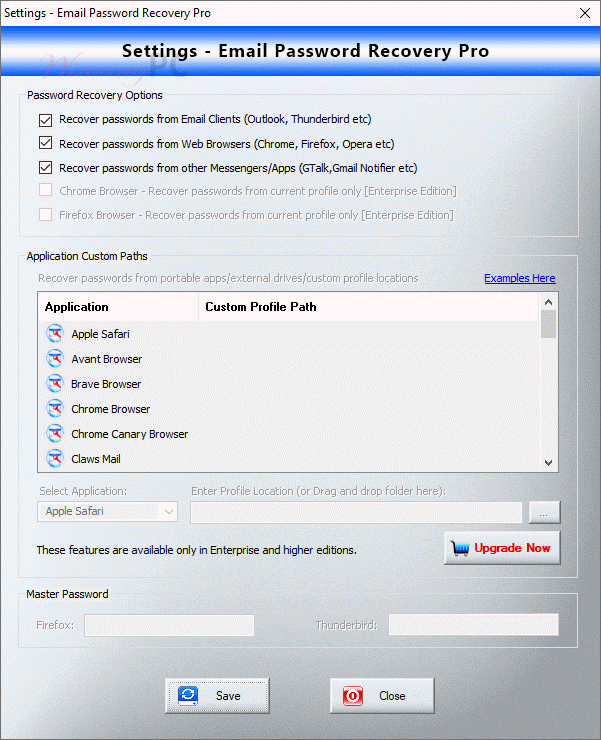 Xenarmor Email Password Recovery Pro Settings