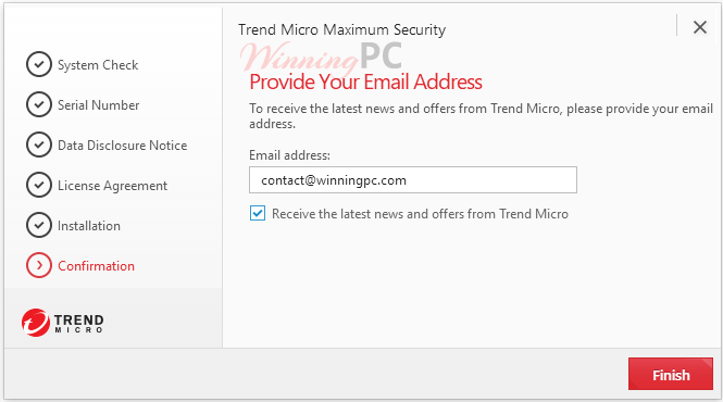 Trend Micro Maximum Security 2020 Specify Your Email