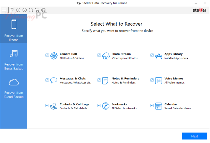 Stellar Data Recovery For Iphone Main Screenshot