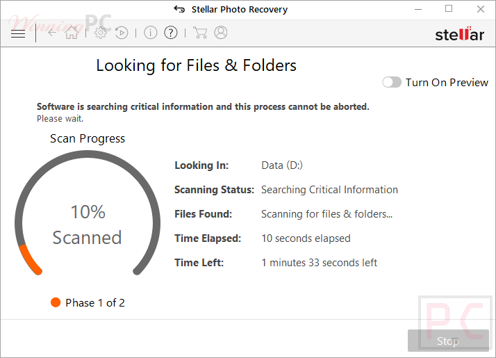 Stellar Photo Recovery Scanning Screenshot