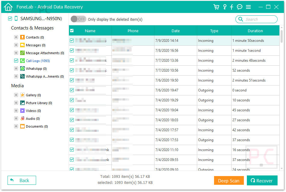 Fonelab Android Data Recovery Screenshot Recover