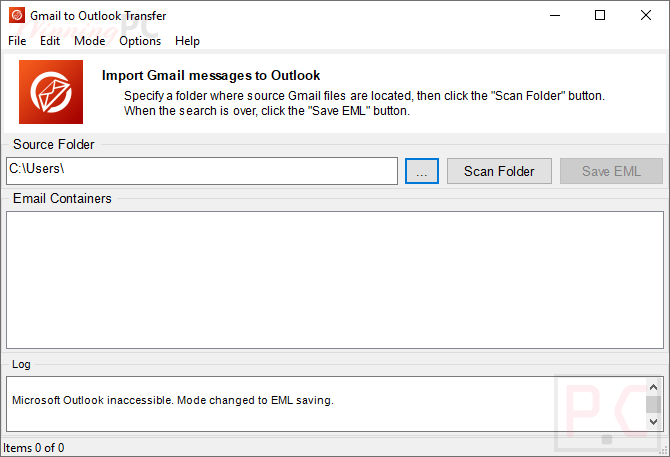 Gmail To Outlook Transfer Screenshot