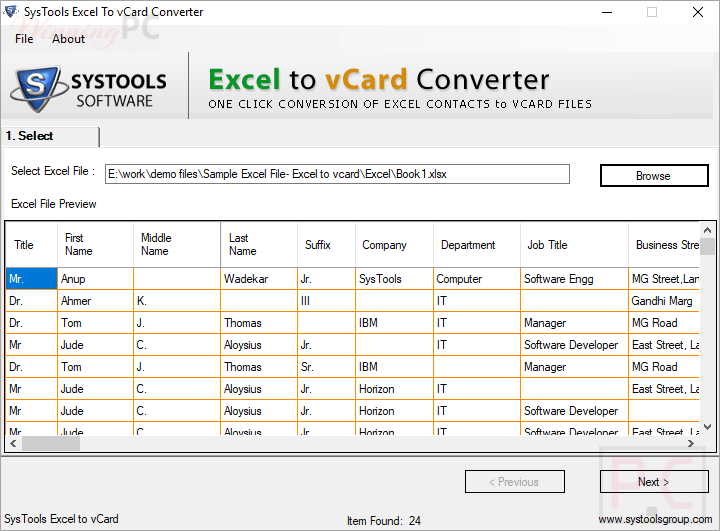 Systools Excel To Vcard Converter Select Excel File