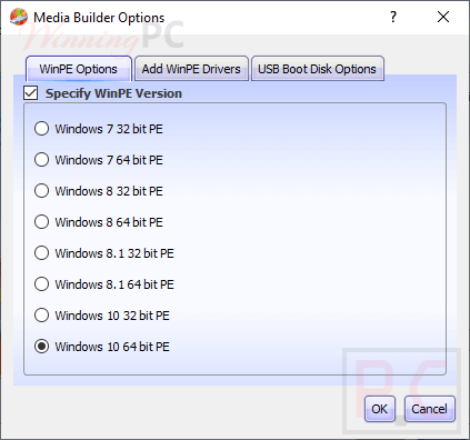 Lazesoft Windows Recovery Media Builder Options