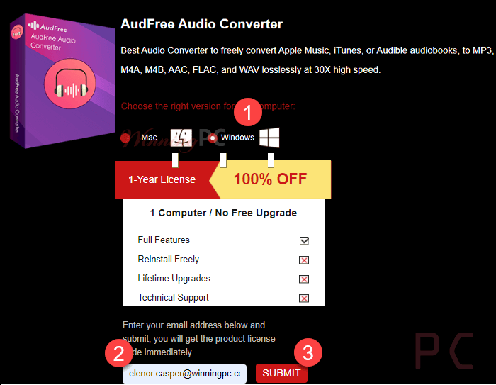 Audfree Audio Converter Giveaway Page
