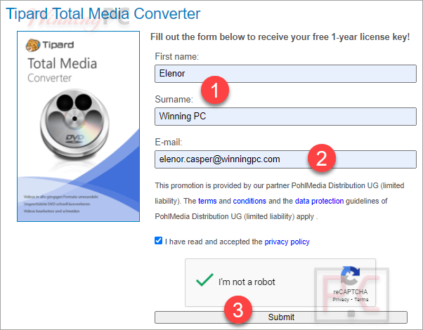 Tipard Total Media Converter Giveaway Page