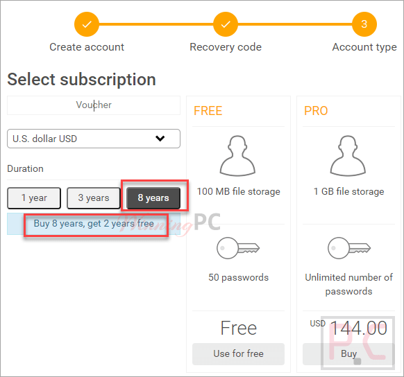 Select Subscription Securesafe Password Manager