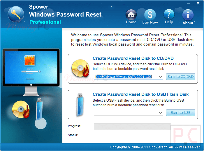 spowersoft windows password reset screenshot
