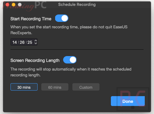 schedule recording easeus recexperts for mac