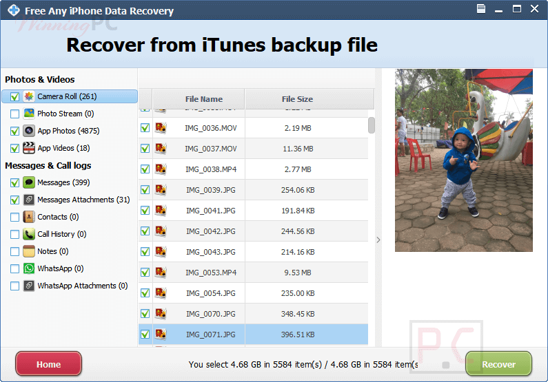 amazing any iphone data recovery processing