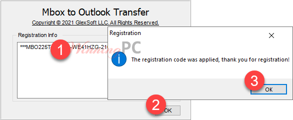 paste license key mbox to outlook transfer