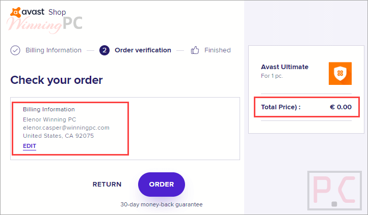Avast Ultimate Giveaway Page And Order